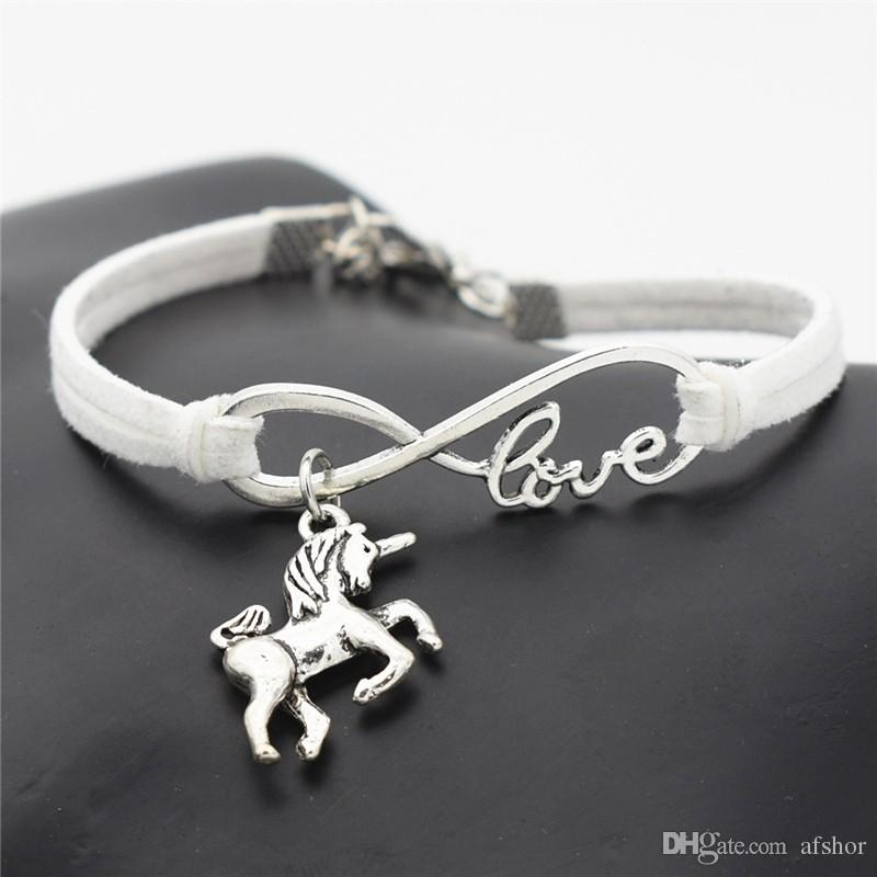 AFSHOR New Vintage Cute Animals Antique Silver Lucky Horse Unicorn Charms Infinity Love Leather Bracelet Bangles for Women Gifts Accessories