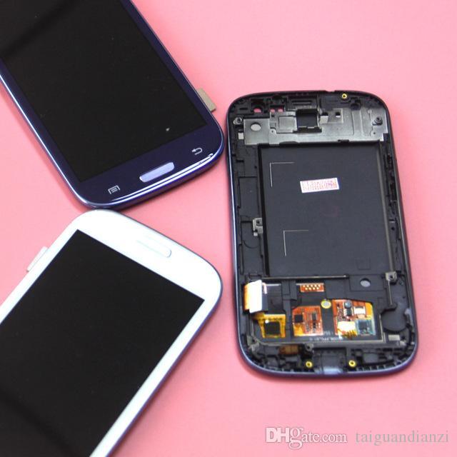 Galaxy S3 i9300 LCD Ekran Sayısallaştırıcı ile Uyumlu Dokunmatik Ekran Meclisi ile Çerçeve Uyumlu, ücretsiz kargo