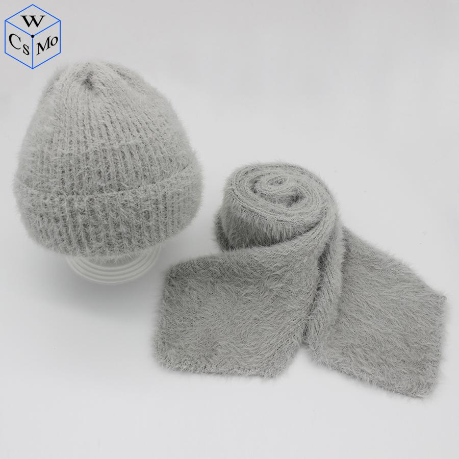 5d7d83105bc New Knitted Wool Faux Mink Hat Scarf Set Women Caps Beanies Hat ...