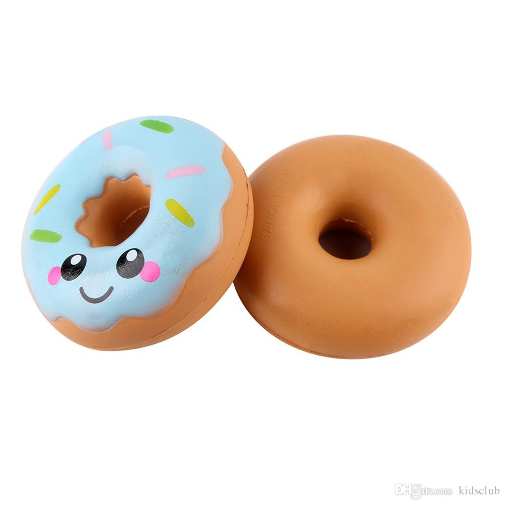 The New PU Material Blue Pink Simulation Smile Donut Pendant Soft Slow Rebound Children's Decompression Toys
