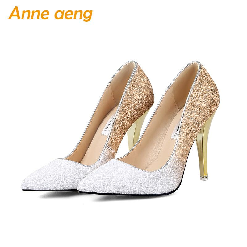 2019 2018 New High Thin Heels Shoes Women Pumps Bling Wedding Bridal Shoes  Classic 1cm 5.5cm Or 8.5cm Pointed Toe Evening Party Shoes Dress Tennis  Shoes ... eaed55f17ae0