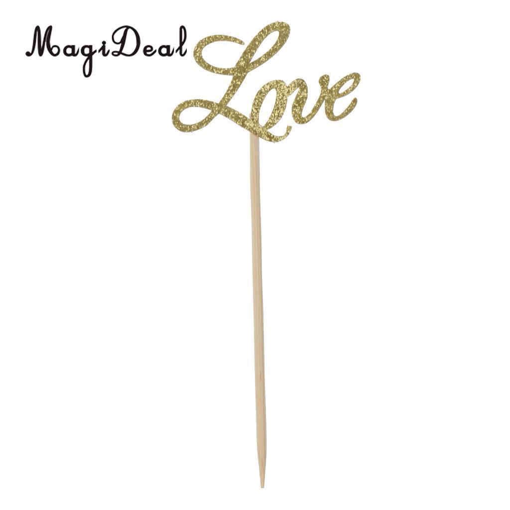 MagiDeal 10x بريق ورقة الذهب الحب كعكة القبعات العالية كب كيك المسواك حفل زفاف ديكور