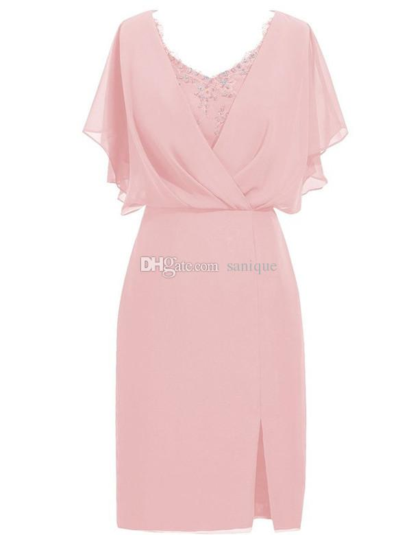 2018 New Chiffon Spring Mother of the Bride Plus Size Short Sleeves Pink Women Formal Gowns Elegant Mother Dresses for Wedding