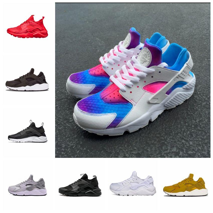 the latest e229b da89e 2018 wholesale Air Huarache Ultra Run rainbow Huaraches Men Women Running  Shoes White Black huraches sports Mens Designer Trainers Sneakers