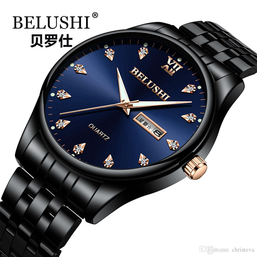 74c6a889678d Compre BELUSHI Reloj 2018 Marca De Fábrica De Lujo Para Hombres De Negocios  Reloj De Cuarzo Impermeable De Acero Inoxidable Para Hombres Fecha Hora  Hora ...