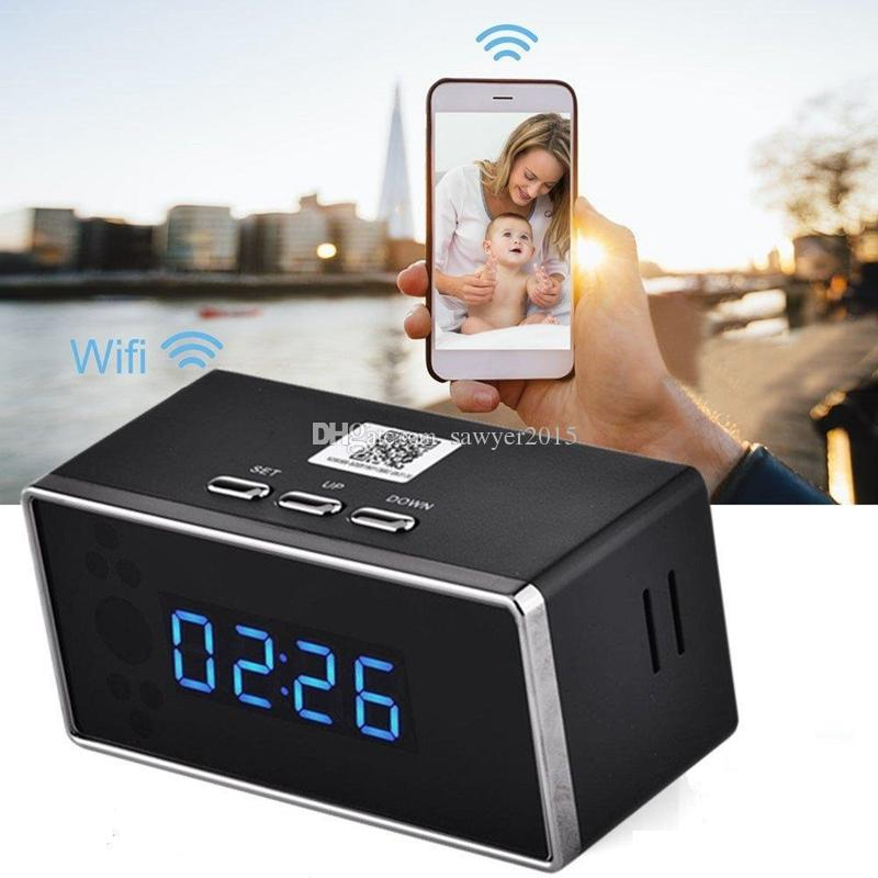 1920x1080 HD WIFI Camera Alarm Clock DVR IR Night Vision Wireless Nanny Cam Clock Baby monitor Support Android/iOS Phone View Video