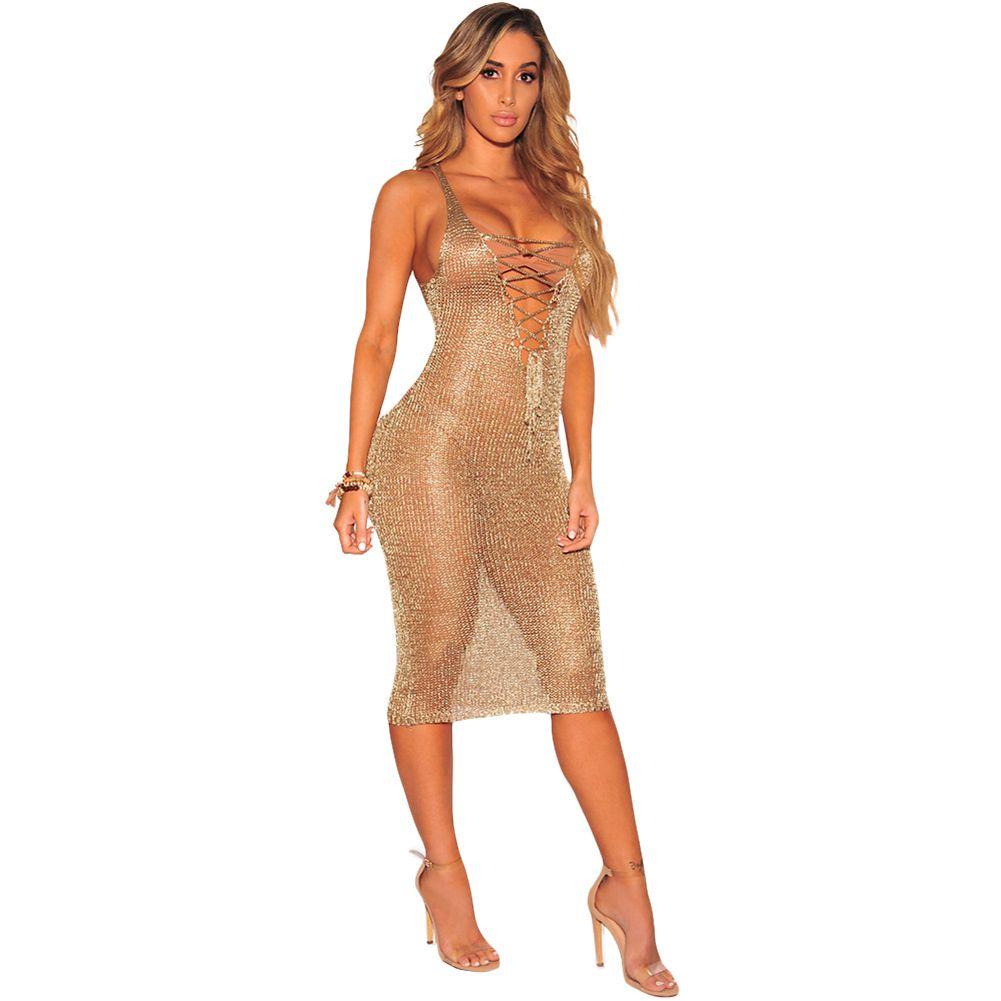 1531840f33d7 Sexy Women Sheer Knit Dress Lace Up Deep V Neck Sleeveless Beach Dress  Party Nightclub Midi Dress Gold/Rose Gold Beachwear Black Women Dress  Cocktail ...