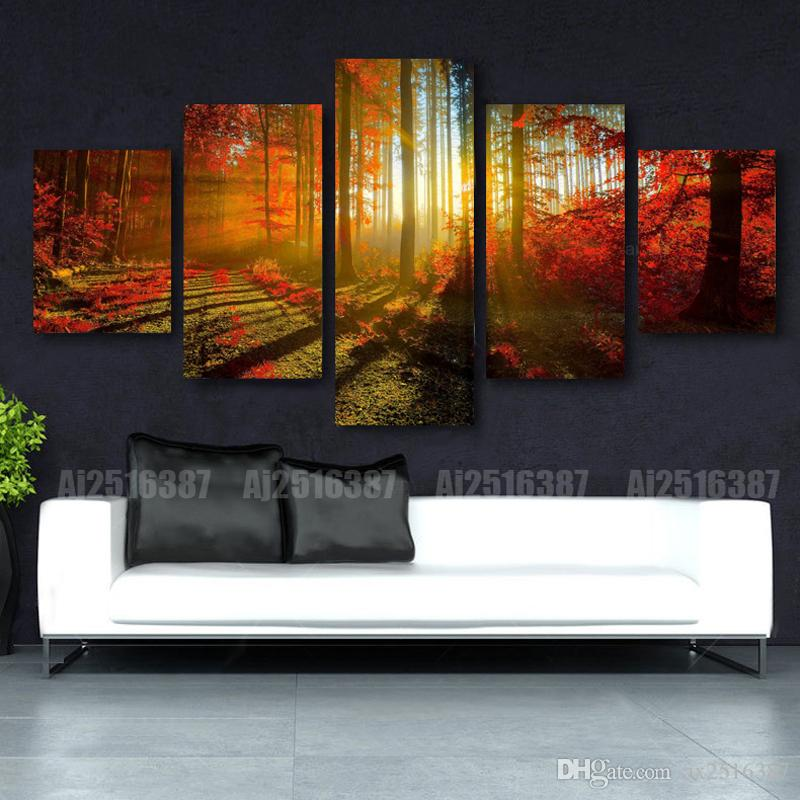 Forest Painting 5p Canvas Wall Art Picture Home Decoration Living Room Canvas Print Modern Painting--Large Canvas Art Cheap