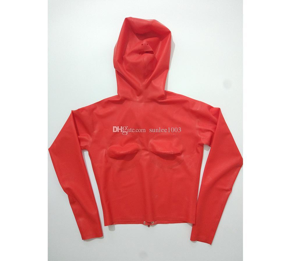 Top in latex con cappuccio 3D Latex Sex Latex Fetish Bondage Hood donna Latex Zentai maniche lunghe Tops Shirt Red Suit