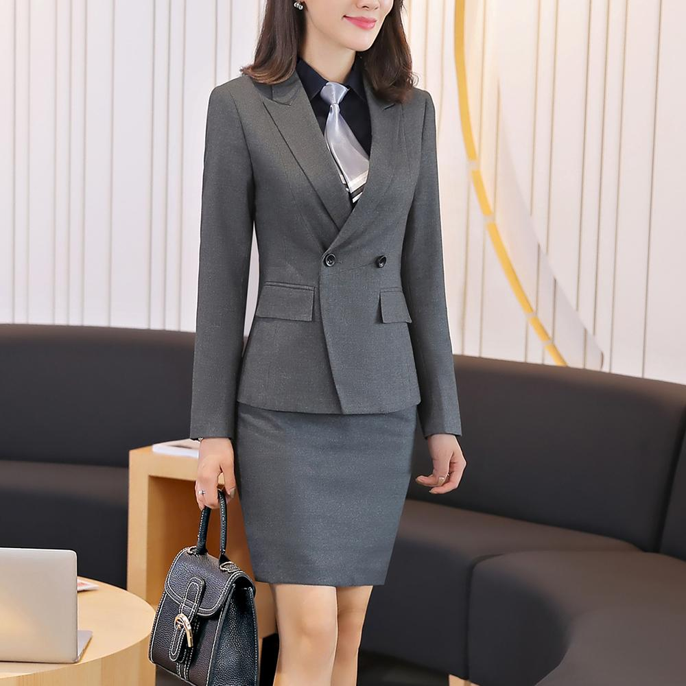1d088513233 Women Tailor Skirt Suit High Quality Career Double Breasted Jacket and  Skirt 2 pieces Set office Ladies Wear
