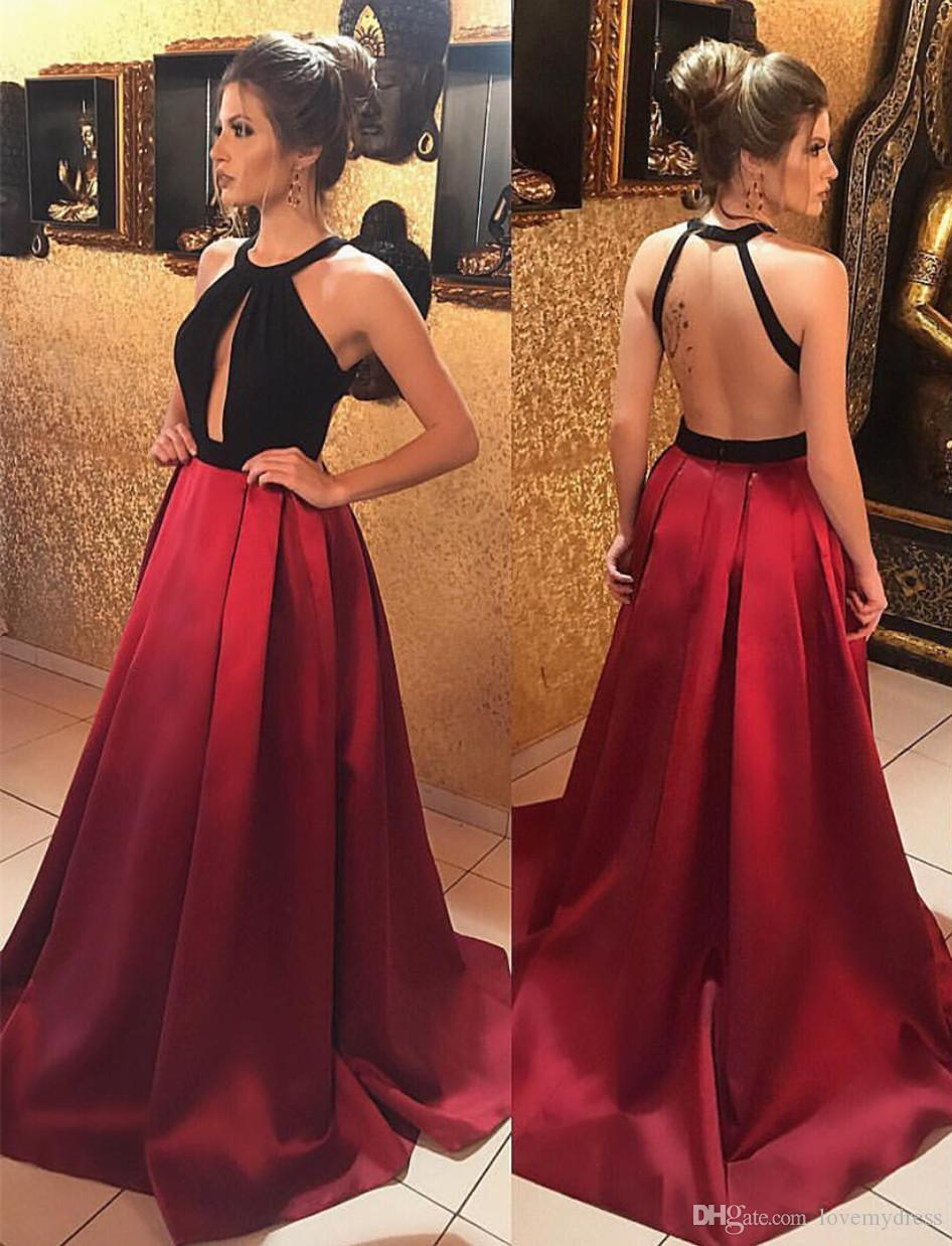 5e14c3db6dd 2018 Unique Designer Red Black Evening Prom Dress Long A Line Satin Open  Back Halter Pleated Cheap Red Celebrity Pageant Formal Dress Long Womens  Evening ...
