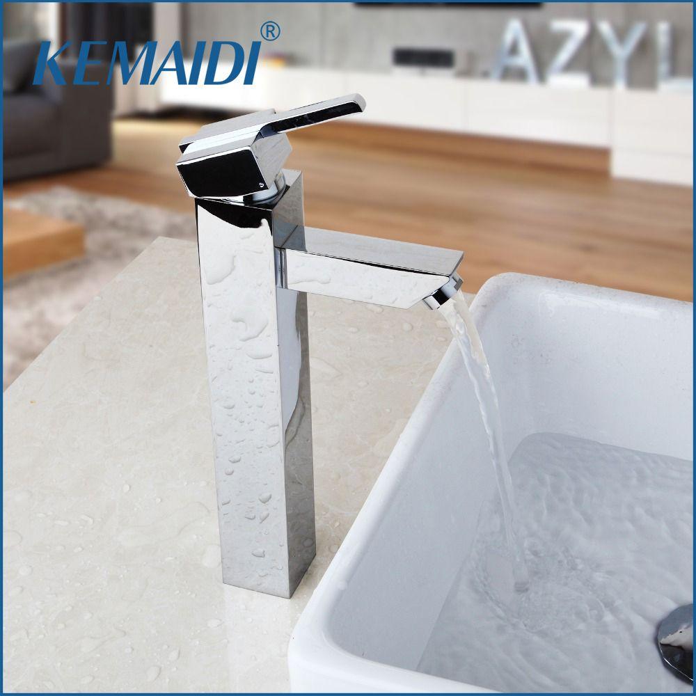 2018 Kemaidi Bathroom Faucet Chrome Brass Countertop Hot & Cold ...