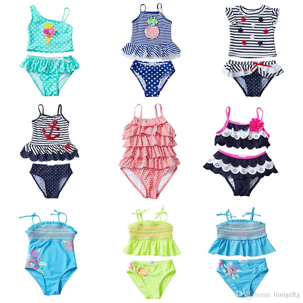 558670c067 UPF 50+ Kids Tankini Swimsuits 12 Designer Swimwear Sequins Pineapple  Anchor 3D Flower Navy Striped Dots Embroidery Applique Clothes 6M-12T