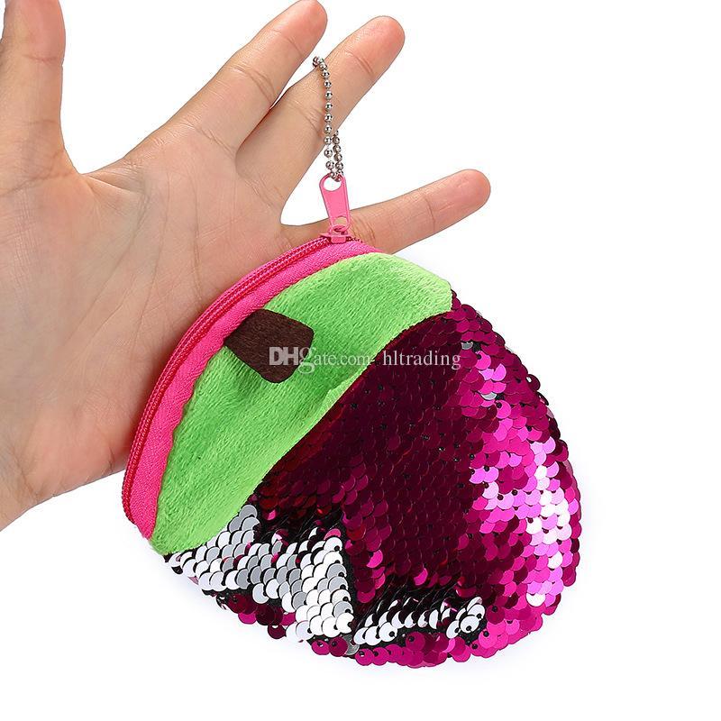 Meerjungfrau Pailletten Geldbörse Glitter Handtasche Bling Taschen Cartoon Obst Erdbeere Ananas Plüsch Geldbörse Chirstmas Geschenke Schlüsselanhänger C4496