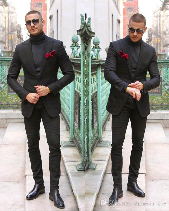 f3255069572 품위있는 블랙 남자 파티 파티 정장 두 조각 맞춤 웨딩 턱시도 슬림 맞는 신랑 정장 자켓 + 바지 제조사 shinesia_zoe,  $75.38 | DHgate.com.