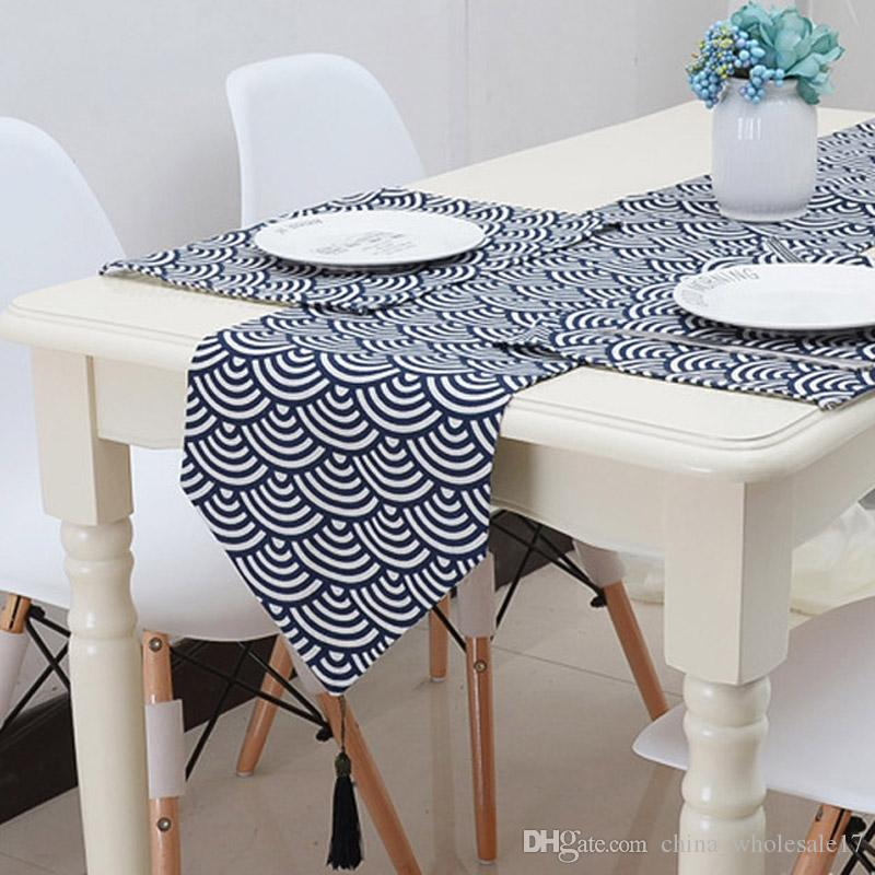 Bon Nordic Linen Geometric Clouds Table Runner Mat Table Flag Blue Grey Tassel  For Home Party Tea Table Cloth Cover Home Decoration Table Linens Wholesale  Table ...