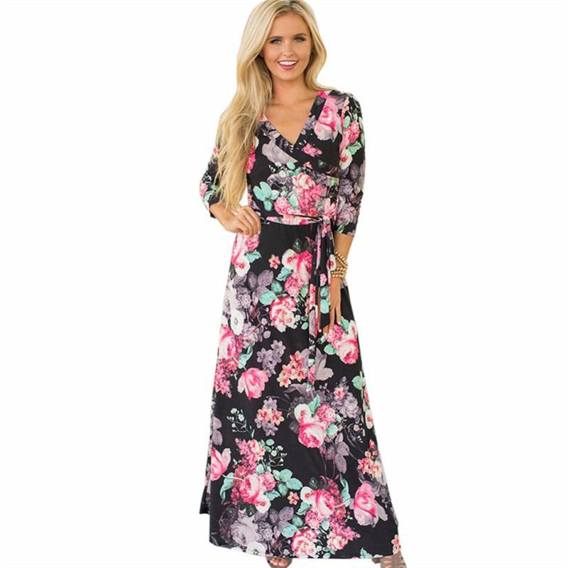 4be946961 X 2018 Women Floral Print Long Maxi Dress Summer Boho Beach Dress Sexy V  Neck Elegant Evening Party Dress Vestidos De Fiesta White Dresses For Sale  Lace ...