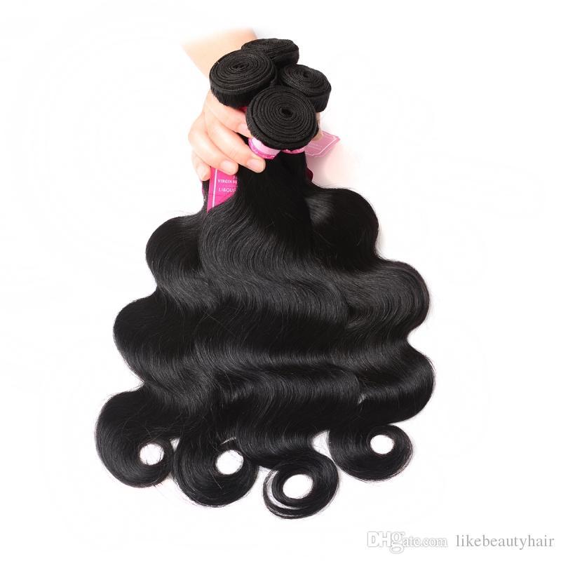 8A El pelo humano peruano barato de la onda del cuerpo del pelo de la Virgen peruana teje 3 o 4 paquetes de pelo peruano de la onda del cuerpo