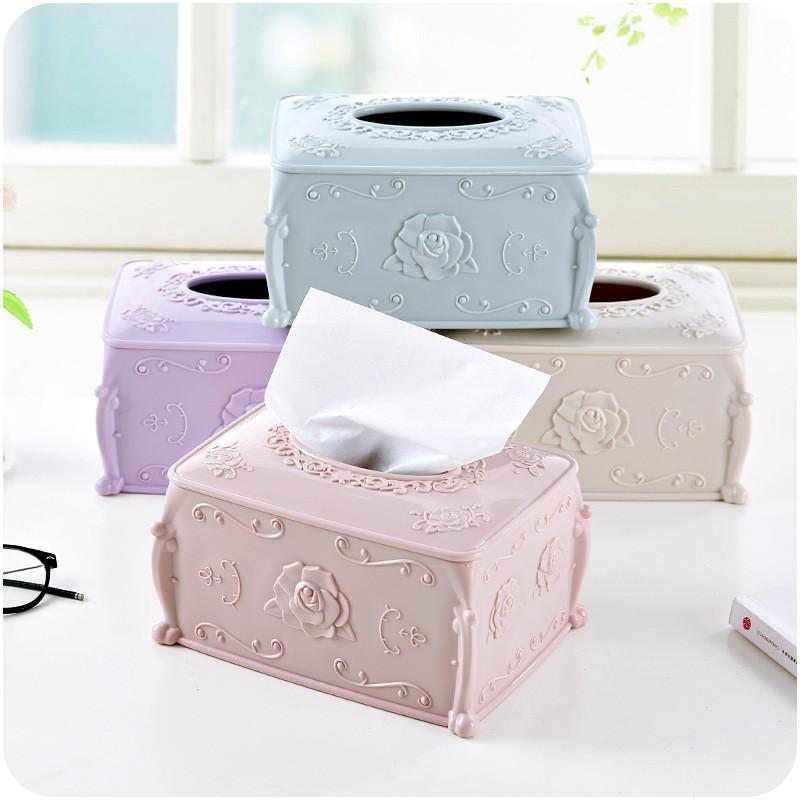 Paper Rack Elegant High Quality Round Waterproof Home Rectangle Shaped Tissue Box Container Towel Napkin Tissue Holder Box