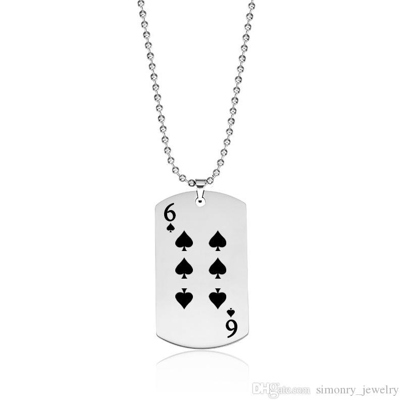 Spade Poker Pingente Colares de Aço Inoxidável Cartão de Jogo Dog Tag Jóias Mulheres Homens Charme Moda Chegada Nova Atacado