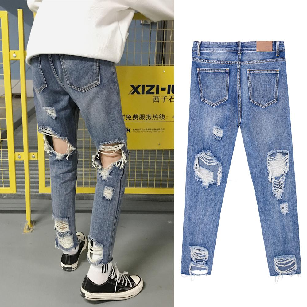 2c70a8bd A Korean version of slim men's big hole jeans bf wind nine-point trousers  high street beggar pants in Europe and America
