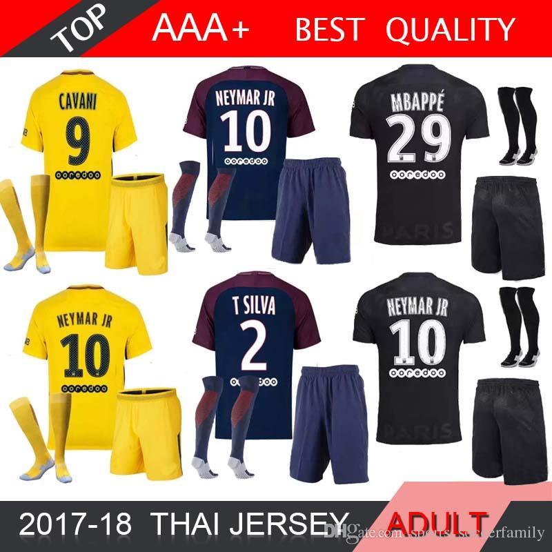 Compre Mbappe Neymar Jr Camisetas De Fútbol 2018 Cavani Dani Alves Paris  Saint Germain 17 18 Camiseta De Fútbol Kit Camisetas De Adulto A  15.83 Del  ... d269f44c65510