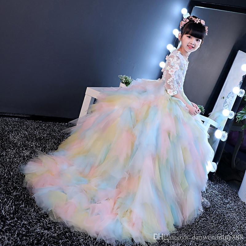Rainbow Tulle Sleeves Train Applique Flower Girl Dresses Princess Dresses Girl's Pageant Dresses Custom Made Size 2-6 8 10 12 14 kf312001