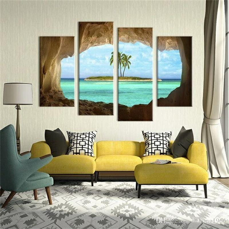 Spray Painting Azure Ocean Island Palm Tree Coconut Tree Seascape Home Wall Decor Oil Paintings New Arrival 40 4jm2 BB