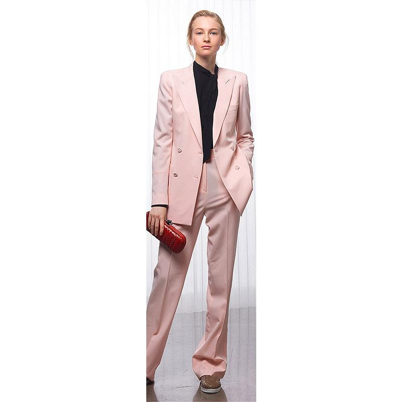 4cfd4804d6fad1 Jacket+Pants Women Business Suits Pink Double Breasted Female Office Uniform  Ladies Formal Trouser Suit 2 Piece Set Custom