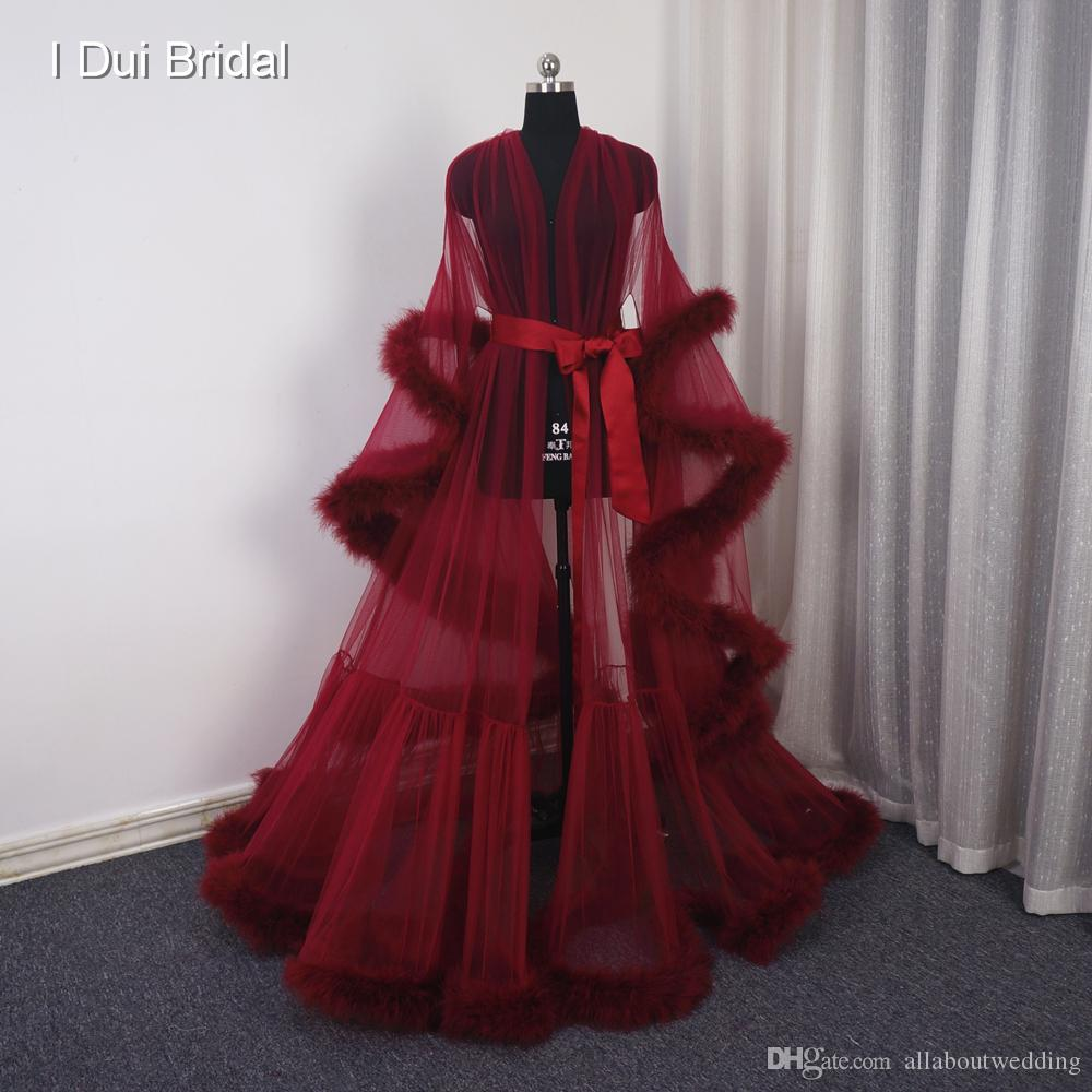 2018 Burgundy Red Feather Bridal Robe Maternity Shoot Gown Tulle ...