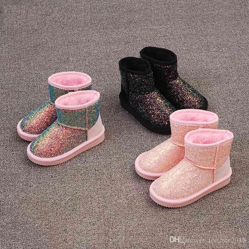 8150d69ec Compre Zapatos De Invierno Para Niños En El Campo De Nieve Botas Para Niña  Mantener Cálidas Botas Cortas Para Niña Lentejuelas Botas Para La Nieve  Zapatos ...