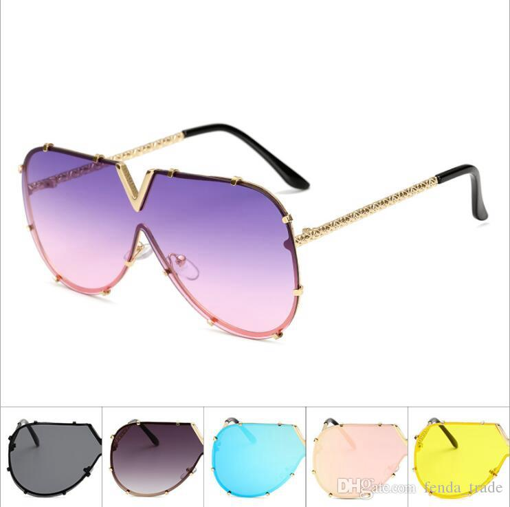 3c71e0e61c Alloy Frame One Lens V Sunglasses Women Luxury Brand Glasses ...