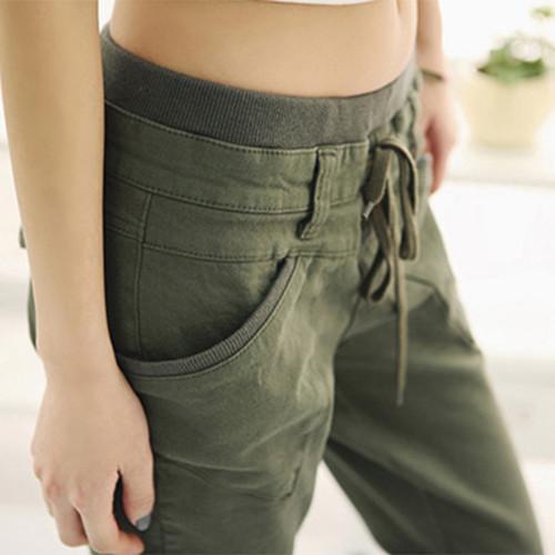 Frauen Stretch Kleine Füße Harem Pant Slack Casual Hosen Schnürung Jeans