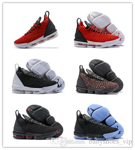 big sale 3e065 2b01d ... clearance new arrival lebron 16 black white red men basketball shoes  lebrons 16s james trainers sports