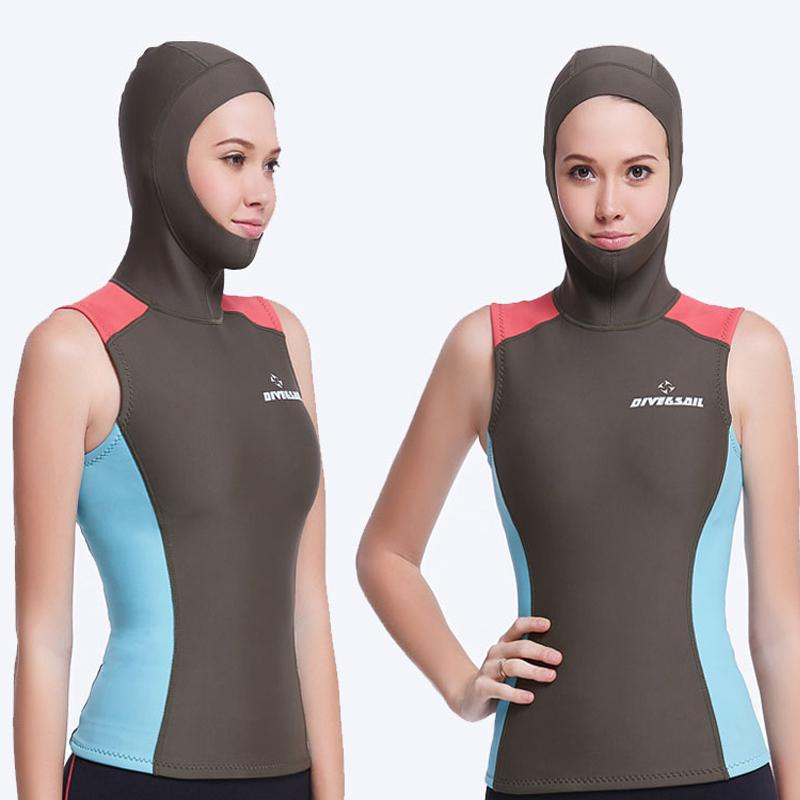 f043499625f7a 2019 Swim Wetsuits Dive Amp Sail Wetsuits Hooded Vest 1.5MM Womens Diving  Hood Vest Spearfish Neoprene Wetsuit From Sports1234