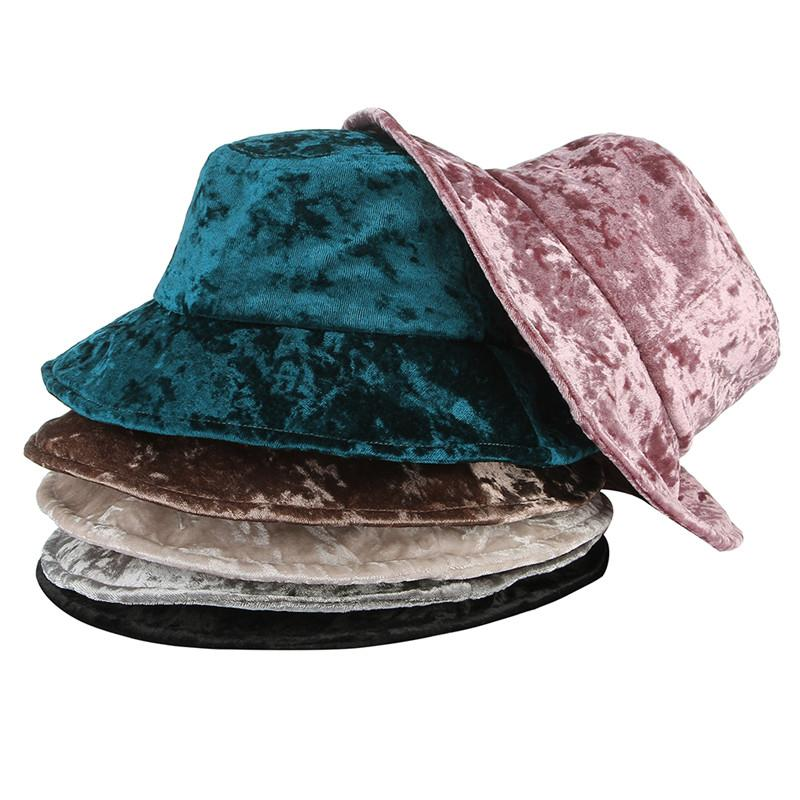 2018 New Fashion Solid Color Velvet Bucket Hats For Women Wide Brim Spring  Summer Autumn Travel Fishing Hat Sun Caps Sun Hat Straw Hats From  Rainbowwo cf42ce2cbc88
