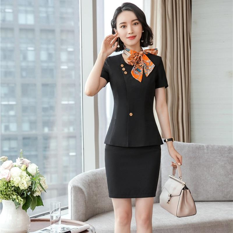 1fbd21068a5 2019 Uniform Styles Blazers Suits With Scarf Formal Two Piece With Tops And  Skirt For Ladies Office Work Wear Professional Sets From Blueberry07