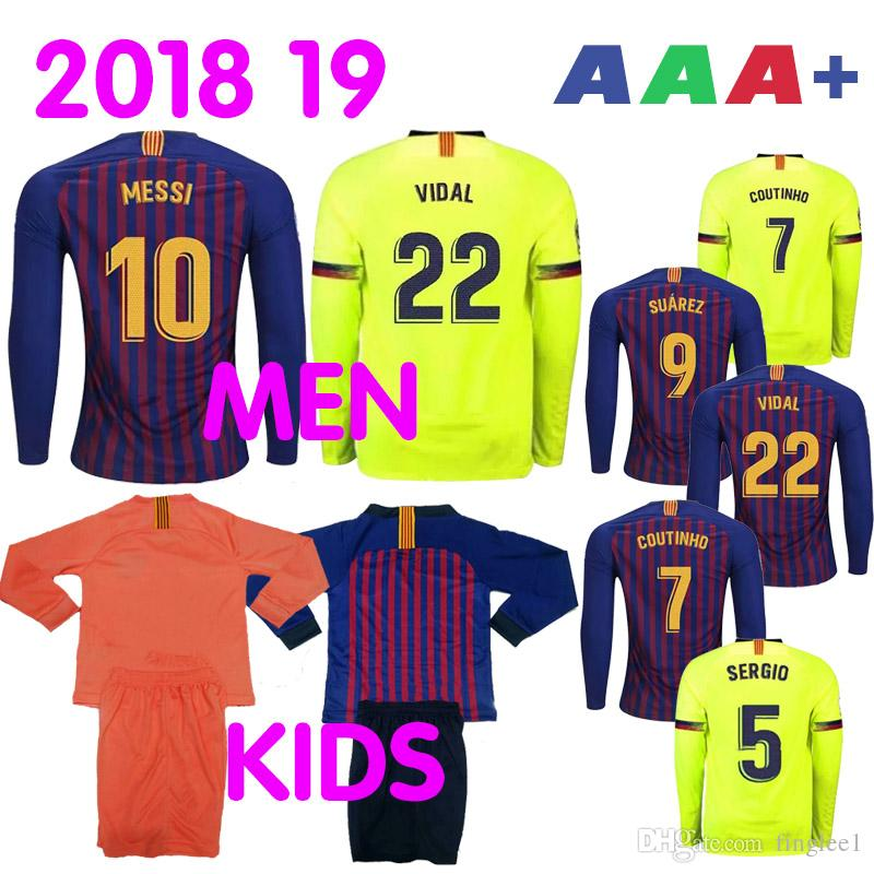0f1747c40 2018 2019 Barcelona Long Sleeve Soccer Jersey 10 Lionel Messi 9 SUAREZ 7  COUTINHO 11 DEMBE Home Away Thailand quality Football Shirt Kits