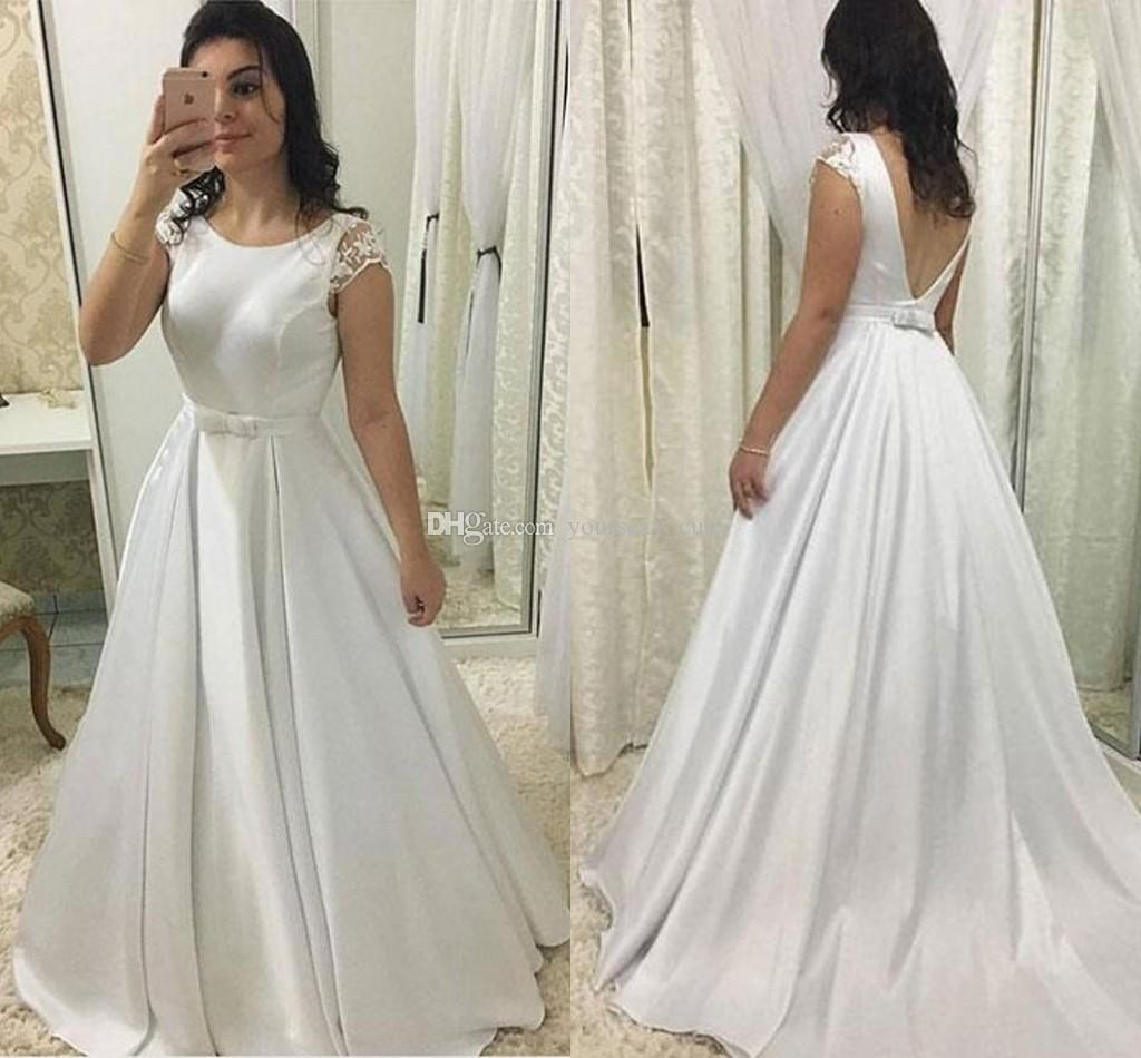 4315d5cef0e Simple Satin White Evening Dresses Scoop Neck Cap Sleeves Floor Length  Backless Prom Dresses Sash Bow White Ivory Plus Size Evening Gowns Evening  Dresses ...