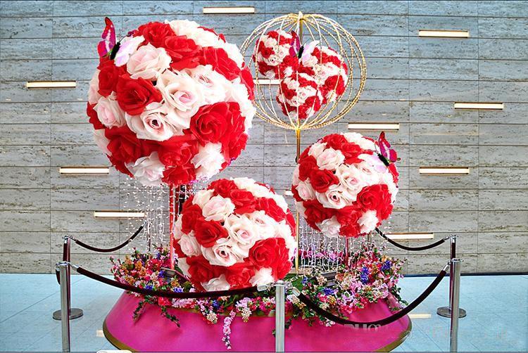 6 ~ 24 Inch15 ~ 60 CM Artificial Bolas de Seda Flor Beijando Bolas de Flores Penduradas bolas de rosa festival Enfeites de Festa de Casamento Decorações rose bouque