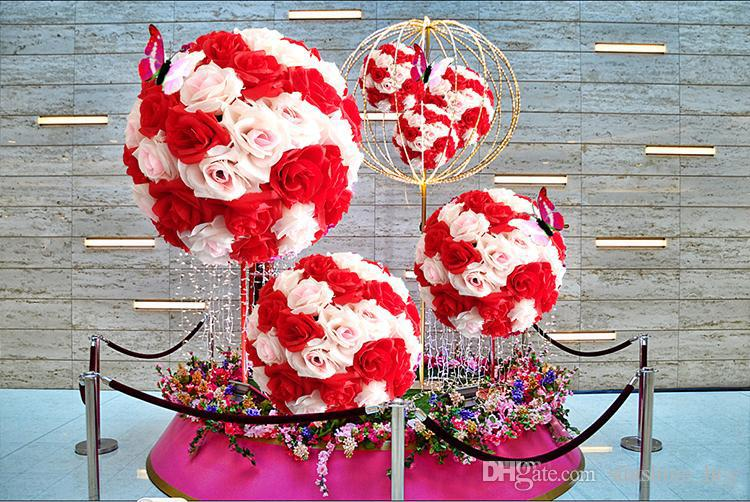 6~24 Inch15~60CM Artificial Rose balls Silk Flower Kissing Balls Hanging rose Balls festival Ornaments Wedding Party Decorations rose bouque