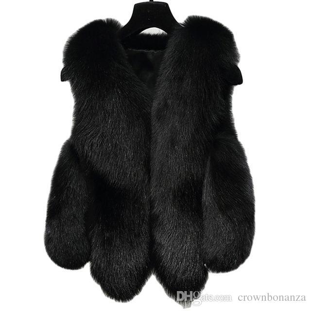3f5659521c6704 Acquista Donna Inverno Faux Fur Vest Donna Giacca Cappotto Spessa Calda  Nero Faux Fur Vest Capispalla Donna Grigio Faux Pelliccia Volpe Donna Plus  Size 2XL ...