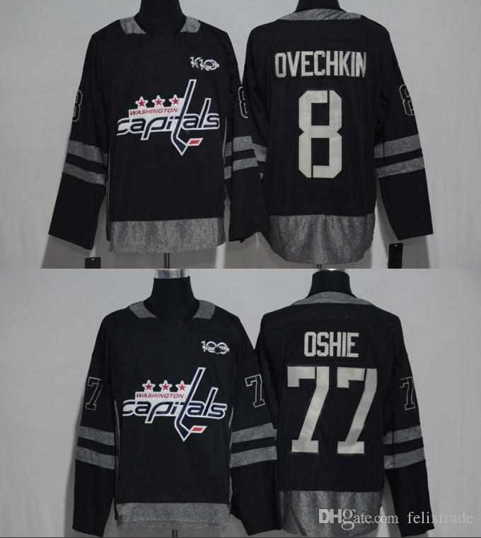 f5c6b32ad96 Washington Capitals 8 Alex Ovechkin 77 T.J. Oshie Black 100th ...