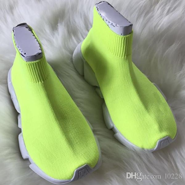 2018 Kids Fashion Stivaletti Speed ​​Stretch Mesh High Top Trainer Scarpe da corsa Speed ​​Knit Sock Scarpe da ginnastica Mid-Top Trainer