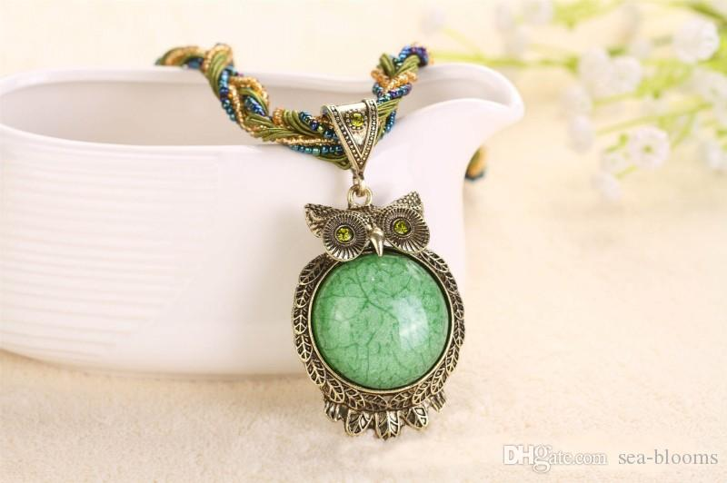 15 Style Bohemia Owl Gem Copper Crystal Glass Beads Cord Choker Necklaces & Pendants Necklace For Women D786S