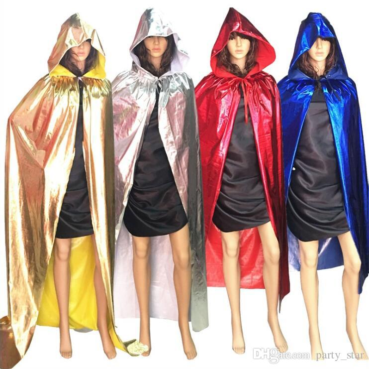 Children Size Halloween Party Cloak Decorations Birthday Party Grim Reaper Vampire Cosplay Cloak Props Gold Silver Red Black Blue