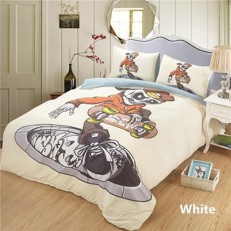 Skull 2 Bed Quilt Cover Clothes Pillowcase Adult Kids Bedroom Decor