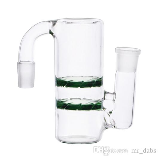 Glass Ash Catcher with 19mm female to 19mm male joint Mini Glass Bong Ash Catchers Thick Pyrex Green Bubbler Ashcatcher at mr_dabs