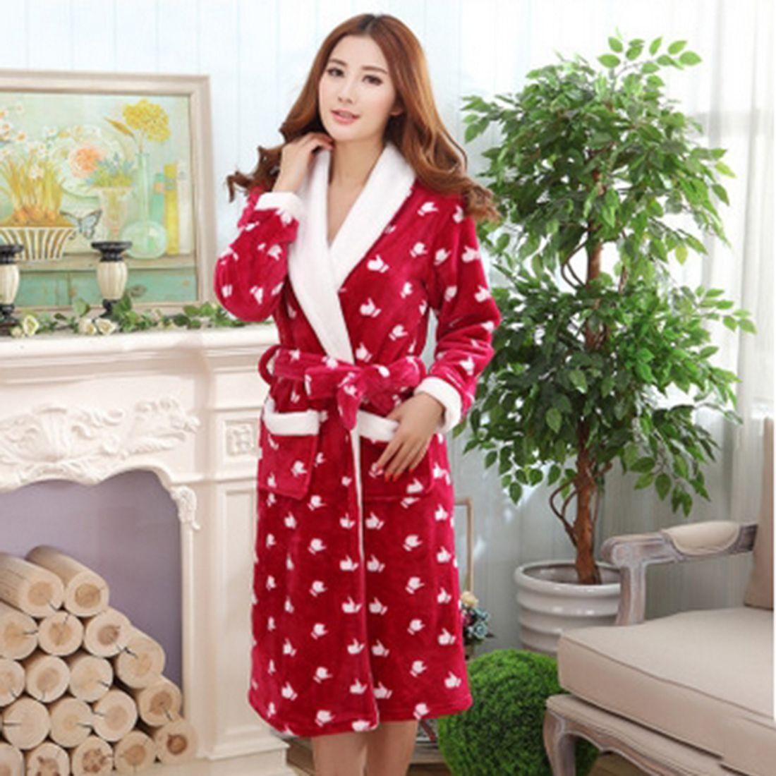 2018 Warm Robes Winter Bathrobe Men Flannel Robes Warm Homewear Long ...