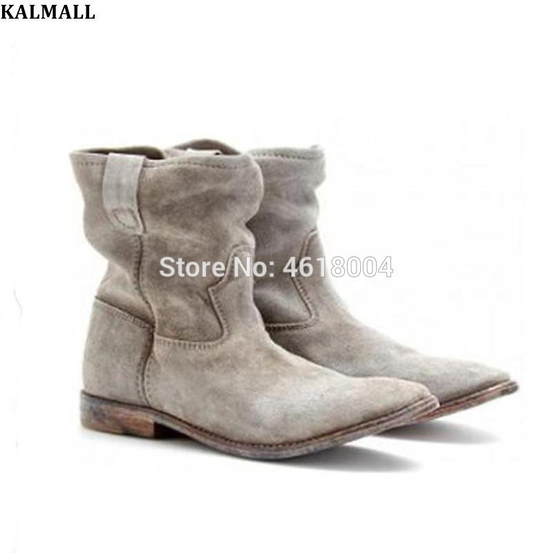 4399439d8fac KALMALL Retro Style Crisi Boots Women Genuine Leather Flats Distressed  Ankle Boots Slip On Motorcycle Booties Winter Fashion Boys Boots Fashion  Shoes From ...